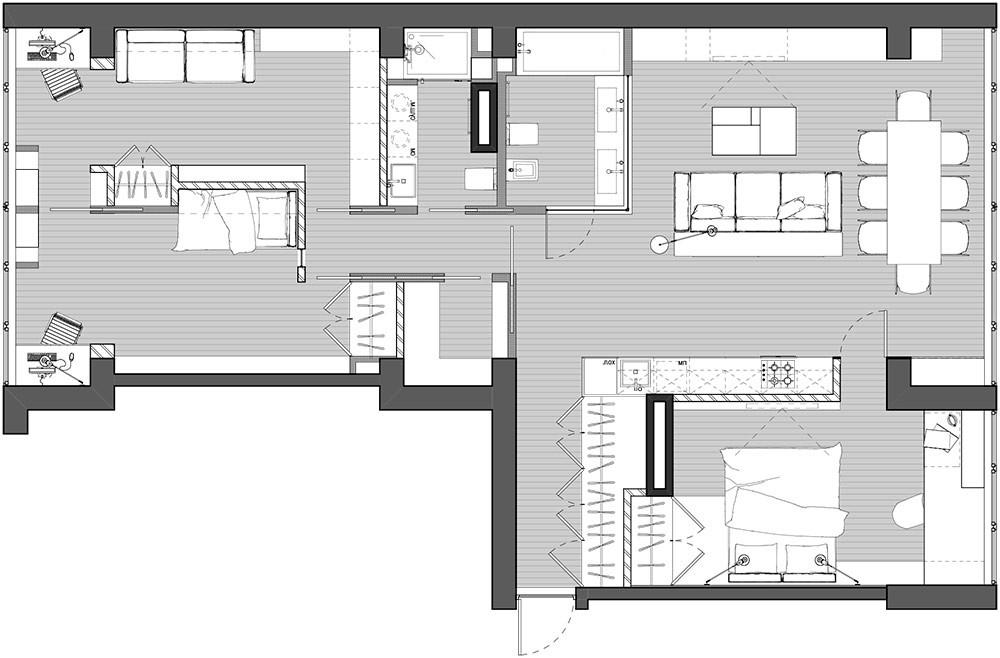 перепланировка 3 х комнатной квартиры